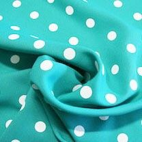 White Dot Gabardine - Light Teal