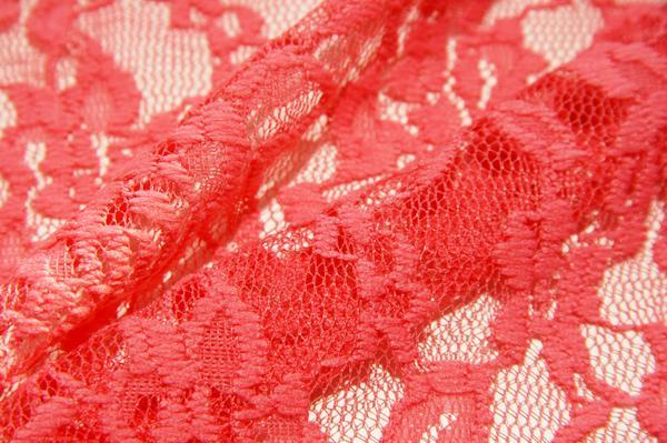 Coral Floral Stretch Lace