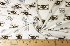 Skulls & Heart Squares - White & Light Blue