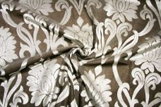 Jumbo Lotus Damask Velvet - Brown
