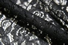 Black Floral Poly/Cotton Knit Lace