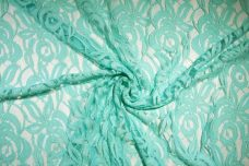Large Aquamarine Rose Cotton/Poly Knit Lace