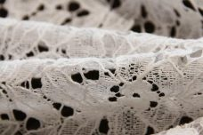 White Floral Cotton/ Poly Knit Lace