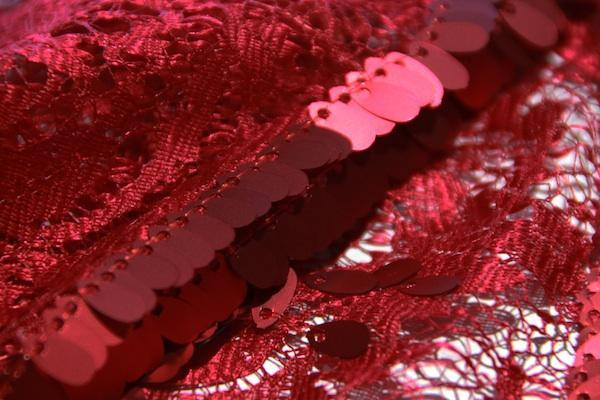 Wave Sequin Lace - Red