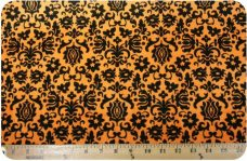 Damask #4 - Orange & Black
