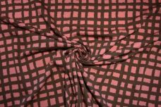Antique Pink Grunge Check Stretch Knit