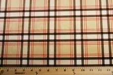 Plaid Minky - Brown & Red