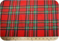 Plaid Minky - Red & Green