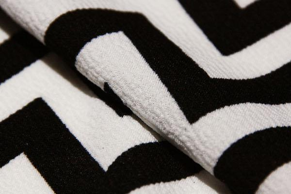 White & Black Chevron Double Knit