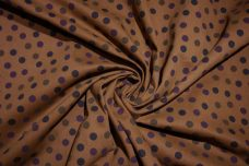 Caramel Dot Cotton Stretch Twill