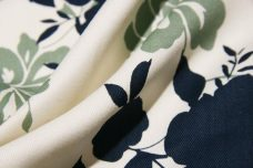 Large Navy & Sage Floral Lightweight Twill