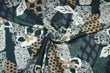 Large Teal Abstract Lightweight Twill