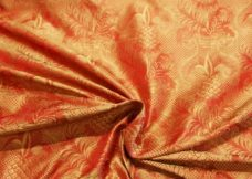Red & Gold Ornate Pineapple Pattern Silk