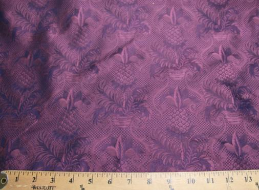 Purple Ornate Pineapple Pattern Silk