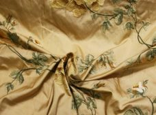 Light Gold Jacquard weight Embroidered Silk