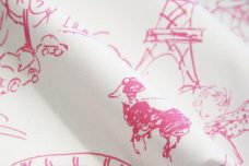 Pink Paris Sketch Toile Stretch Poplin