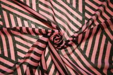 Black & Salmon Geometric Stripe Chiffon
