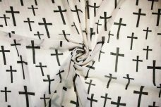Large Cross Print Chiffon - White & Black