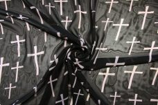 Large Cross Print Chiffon - Black & Dusty Blush