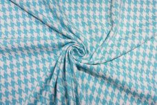 Turquoise Woven Cotton Houndstooth Tweed