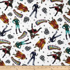 Big Bang Theory as Superheros Cotton - White