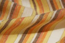 Metallic Various Stripe Gauze - Orange & Yellow