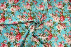 Vintage Floral Cotton - Aquamarine