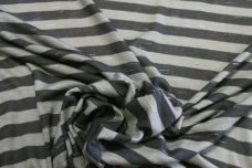 Charcoal & Grey Slub Stripe Rayon Jersey