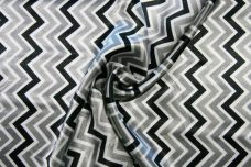 Satin Chevron - Black & Silver
