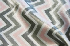 Satin Chevron - Blush & Silver
