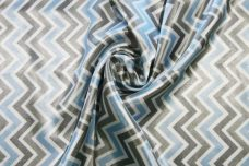 Satin Chevron - Baby Blue & Silver
