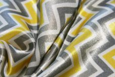 Satin Chevron - Lemon & Silver