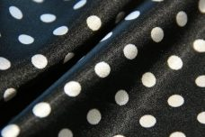 Small Stretch Satin Polkadot - Black