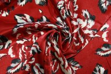 Large Red Floral Charmuse Satin