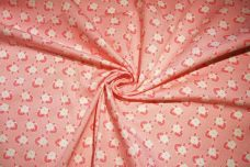 Pink 1930's Inspired Floral Cotton Twill