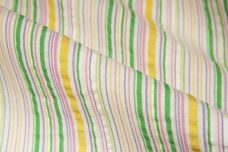 Kiwi & Purple Various Stripe Linen Plisse