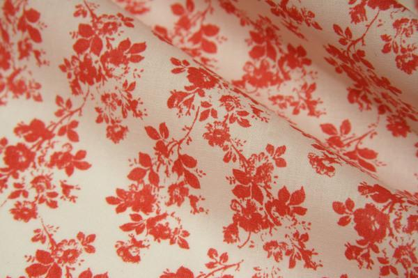 Small Coral Floral Poly/Cotton Poplin