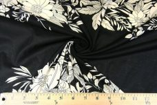 Black & Beige Large Floral Stripe Voile