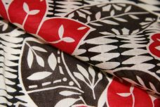 Red Tribal Lotus Floral Cotton Voile
