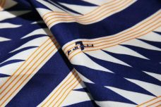"""7 for all mankind"" Navy Lightning Stripe Poplin Panel"