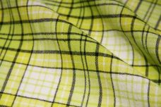 Large Lime & Black Plaid Crepe Gauze