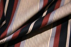 Various Stripe Polished Twill - Burgundy & Charcoal