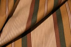 Various Stripe Polished Twill - Gold & Olive