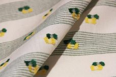 Forest & Yellow Cotton Striped Dotted Swiss